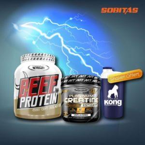 offre spécial créatine muscletech + beef protein + shaker offert