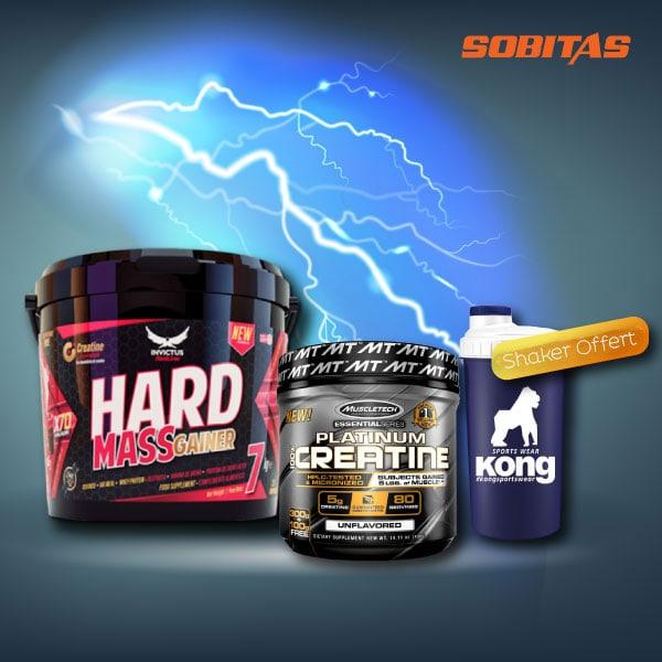 offre spécial créatine muscletech + hard mass shaker protein.t